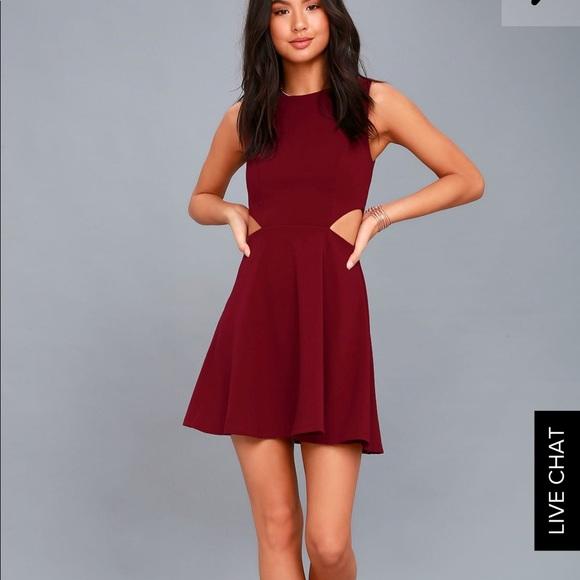 ba47804734 Lulu s Dresses   Skirts - Lulus toast to you wine red cutout skater dress